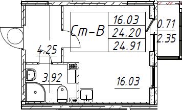 Студия, 24.91 м²– 2