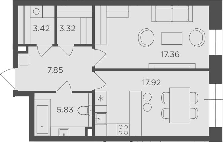 1-комнатная, 55.7 м²– 2