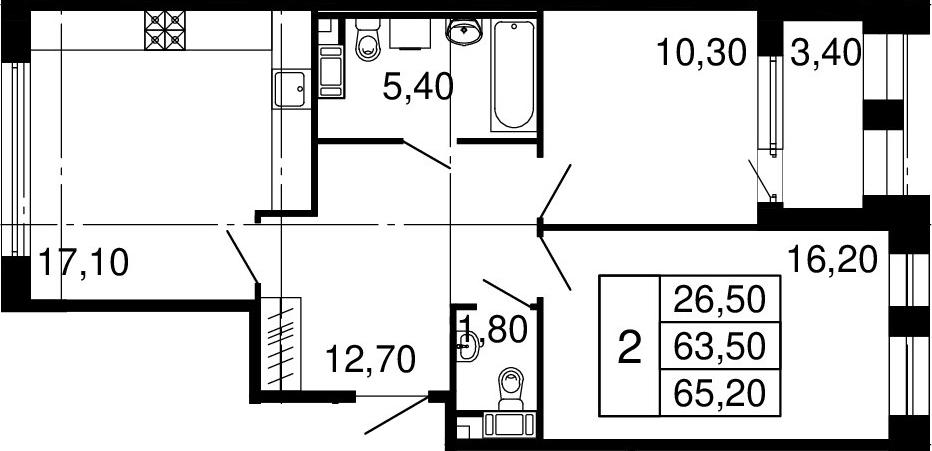 3Е-к.кв, 63.5 м², от 9 этажа
