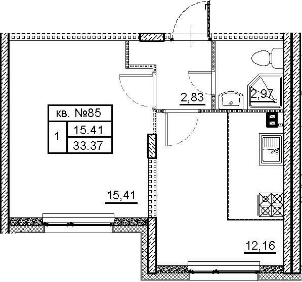 1-к.кв, 33.37 м²