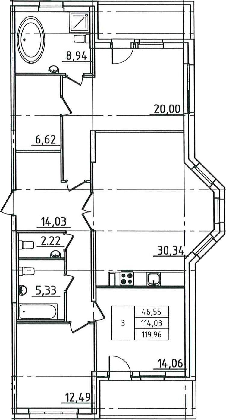 4-к.кв (евро), 125.89 м²