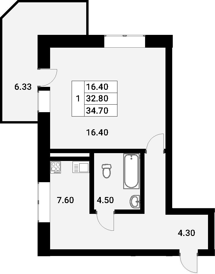 1-к.кв, 39.13 м²