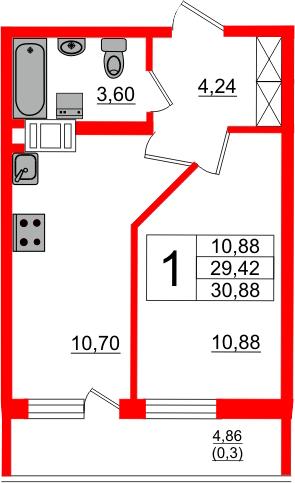 1-к.кв, 34.28 м²