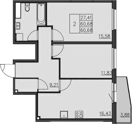 3-к.кв (евро), 64.95 м²