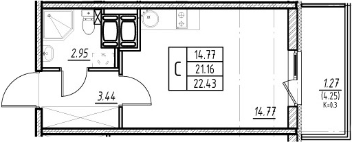 Студия, 21.16 м²– 2