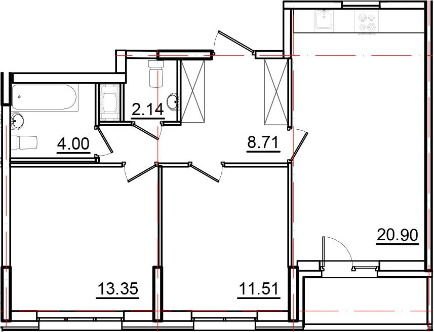 3Е-к.кв, 62.43 м², от 10 этажа