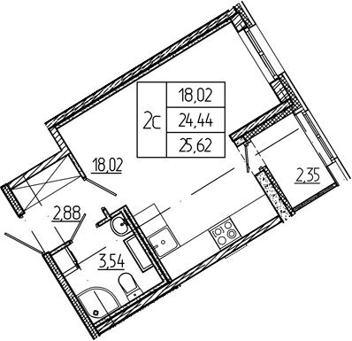 Студия, 24.44 м²– 2