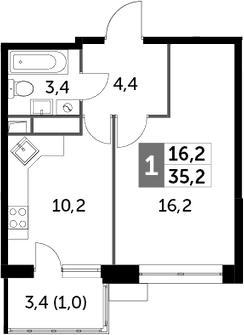 1-к.кв, 35.2 м², 6 этаж