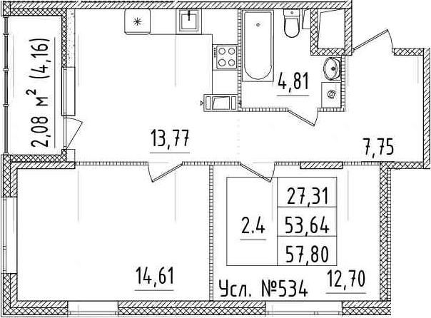 2-комнатная, 53.64 м²– 2