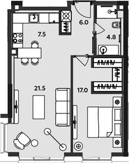 2-к.кв (евро), 57 м²