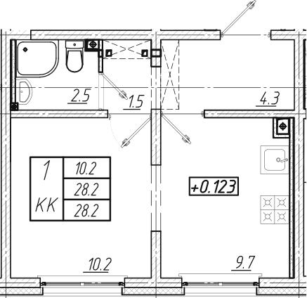 2Е-к.кв, 28.2 м², 1 этаж