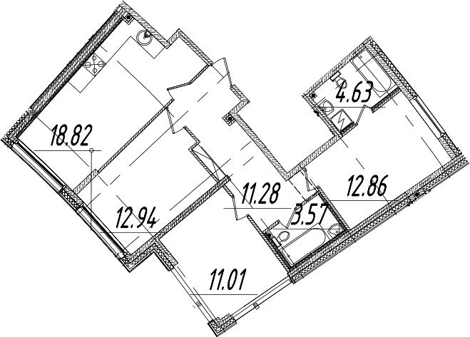 4Е-к.кв, 75.11 м², 2 этаж