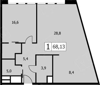 2Е-комнатная, 66.2 м²– 2