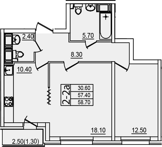 2-к.кв (евро), 60 м²