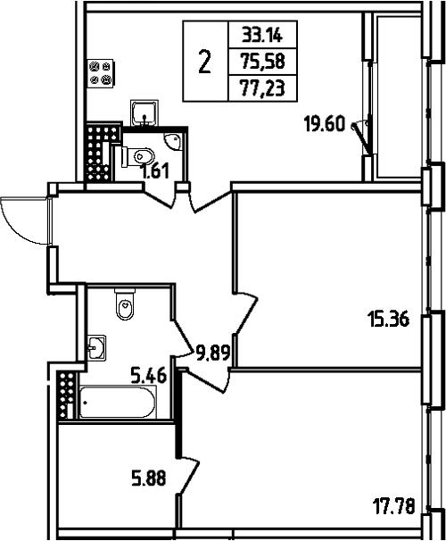 3Е-комнатная квартира, 77.23 м², 13 этаж – Планировка