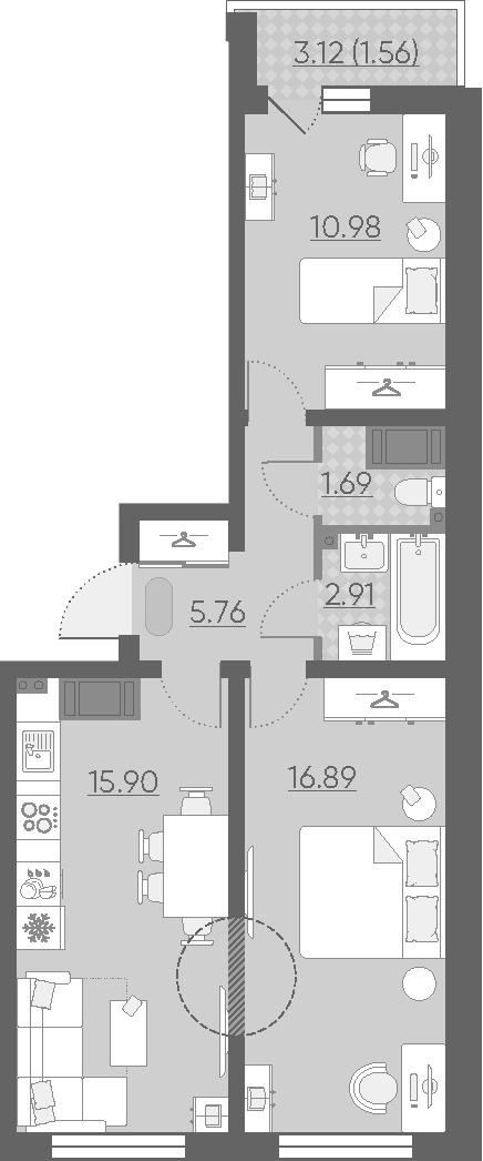 3Е-к.кв, 55.69 м², 12 этаж