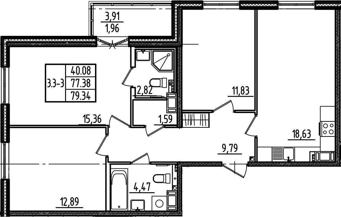 4Е-комнатная, 79.34 м²– 2
