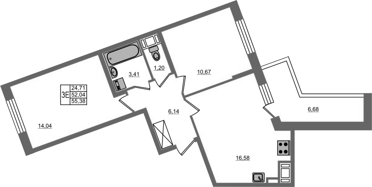 3Е-к.кв, 52.04 м², 13 этаж