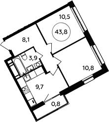 2-к.кв, 43.8 м²