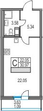 Студия, 30.97 м²– 2