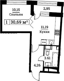 1-к.кв, 30.69 м², от 8 этажа