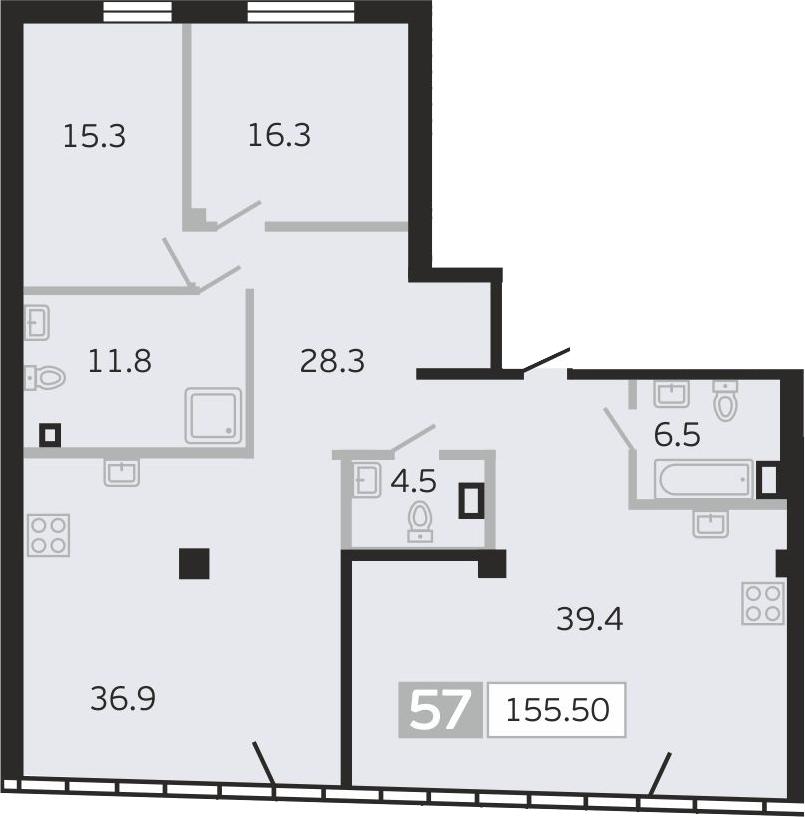4Е-комнатная квартира, 155.5 м², 9 этаж – Планировка