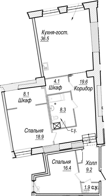3-к.кв (евро), 123 м²