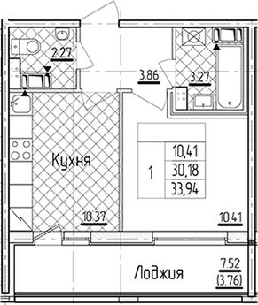 1-к.кв, 33.94 м²
