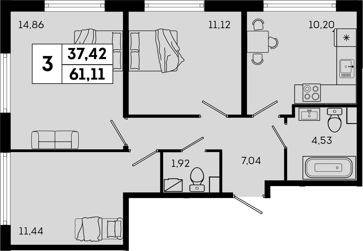 3-к.кв, 61.11 м²