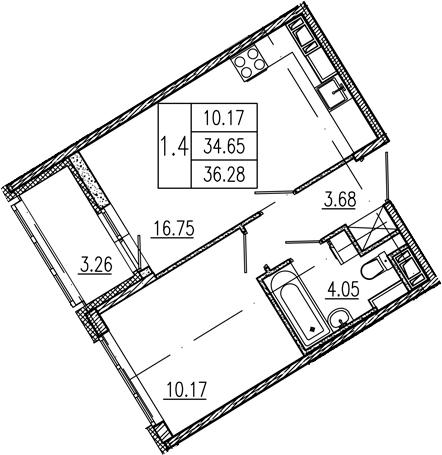 2Е-к.кв, 34.65 м², 8 этаж