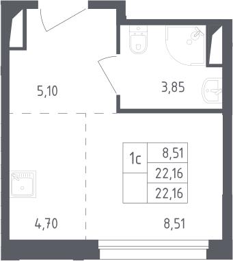 Студия, 22.16 м²– 2