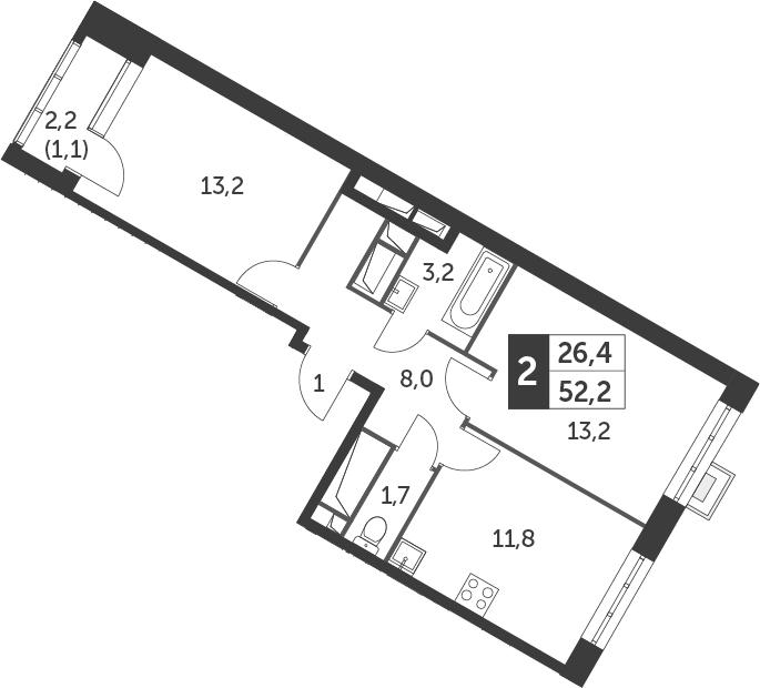 2-комнатная, 52.2 м²– 2