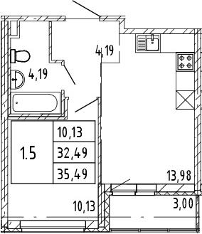 2Е-к.кв, 32.49 м², 2 этаж