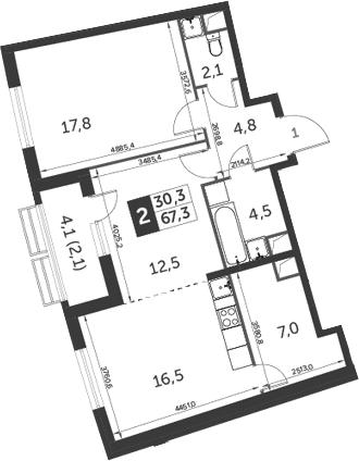 3Е-к.кв, 67.3 м², 1 этаж