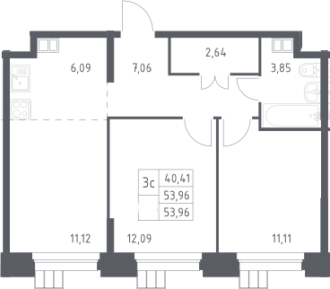 3Е-к.кв, 53.96 м², 13 этаж