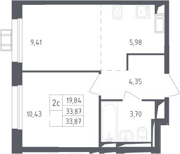 2Е-к.кв, 33.87 м², 15 этаж