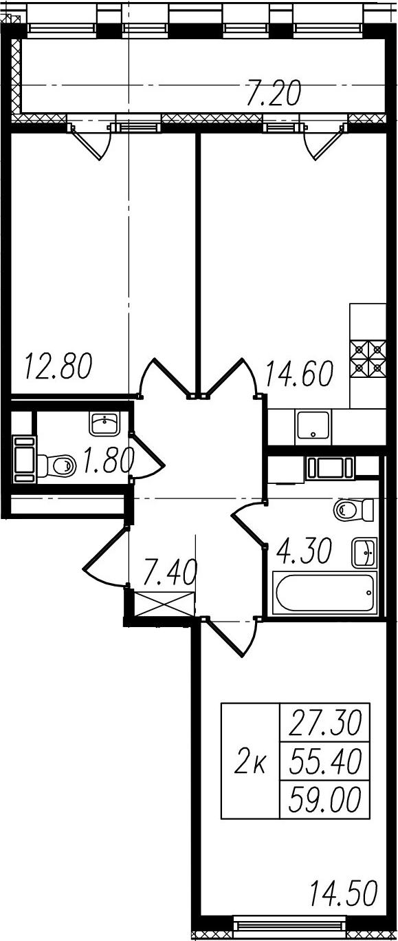 3-к.кв (евро), 62.6 м²