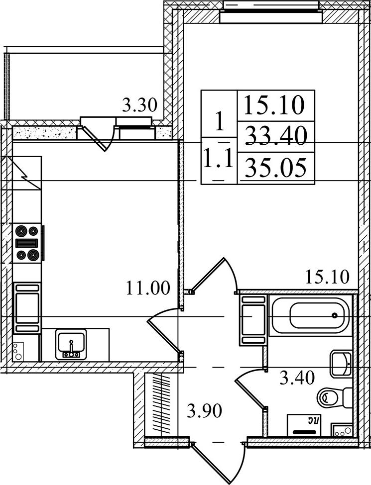 1-к.кв, 33.4 м², 20 этаж