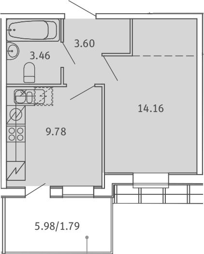1-к.кв, 32.79 м², 5 этаж