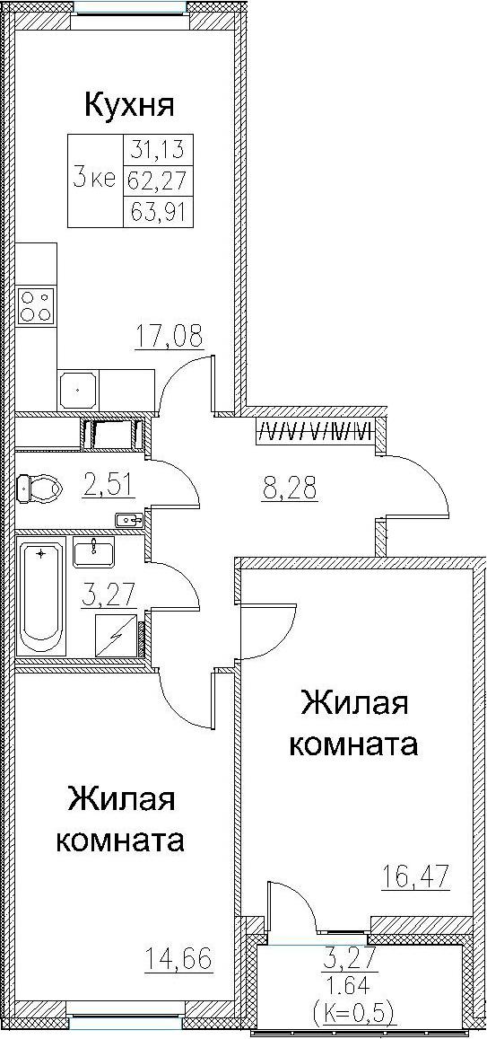 3Е-к.кв, 63.91 м², от 3 этажа
