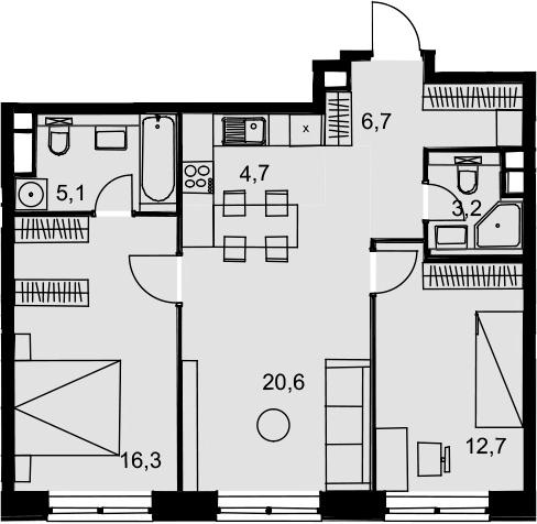 3Е-к.кв, 69.3 м², 11 этаж