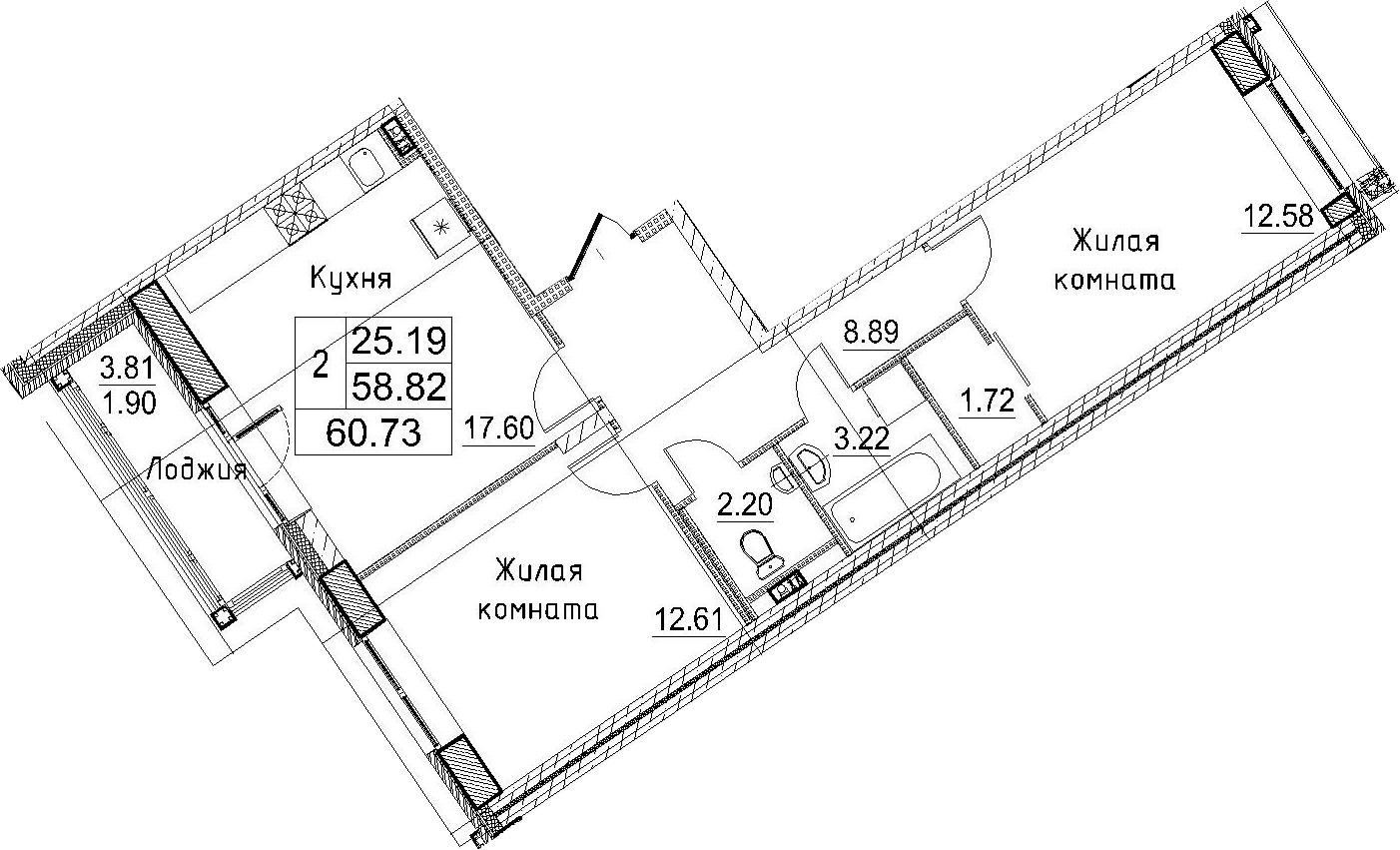 3-к.кв (евро), 62.62 м²