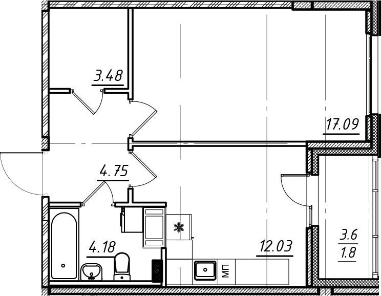 1-комнатная, 43.33 м²– 2