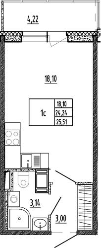 Студия, 24.24 м²