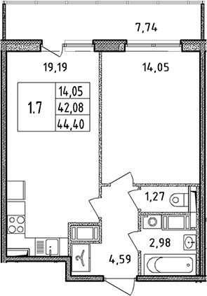 2Е-к.кв, 44.4 м²