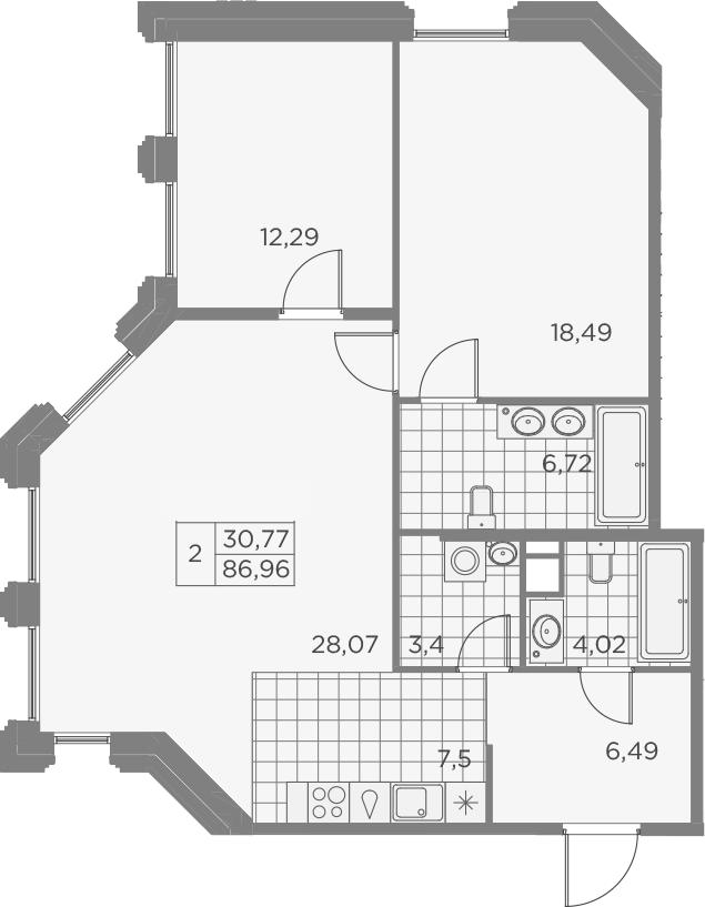 3Е-к.кв, 86.98 м², 6 этаж