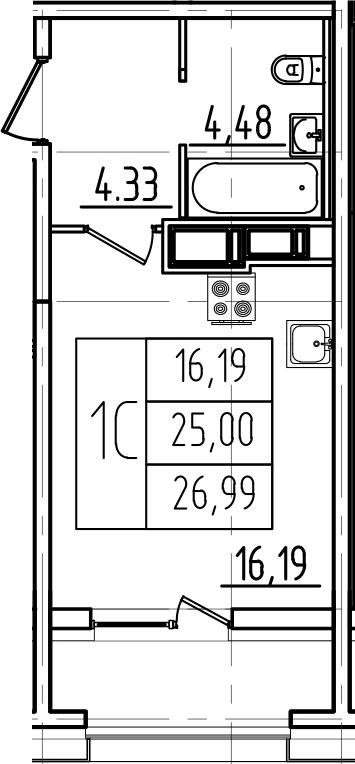 Студия, 26.99 м²