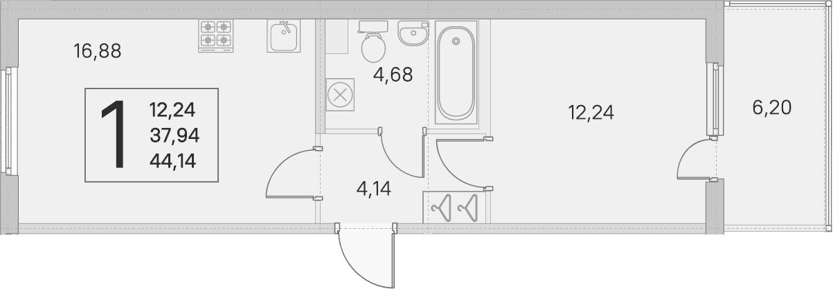 2Е-комнатная, 37.94 м²– 2