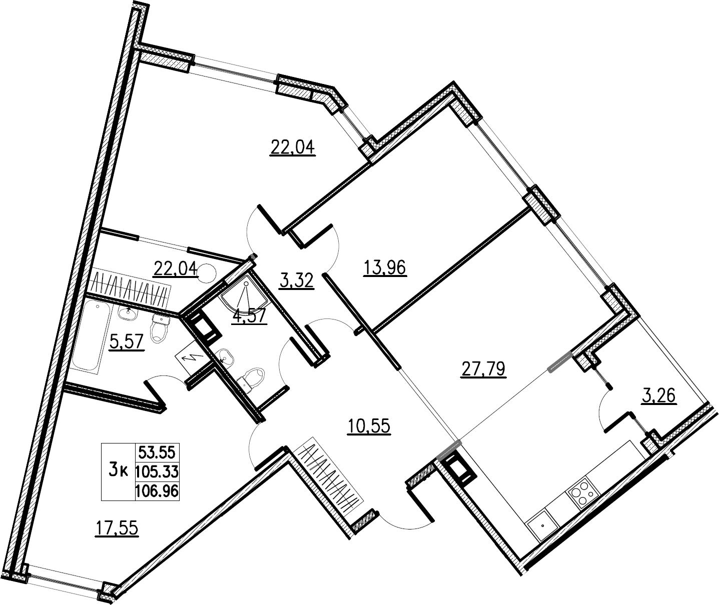 4Е-комнатная, 106.96 м²– 2