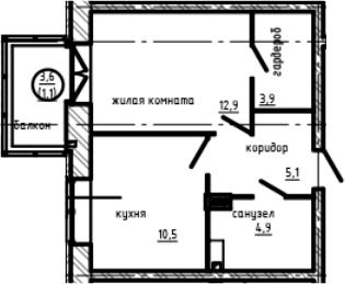 1-к.кв, 40.97 м²